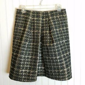 🥂Talbots Black & Gold Metallic Houndstooth Skirt